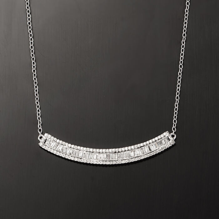 .50 ct. t.w. Baguette and Round Diamond Curved Bar Necklace in 14kt White Gold