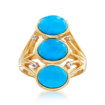 Stabilized Turquoise Ring With White Topaz Accents in 14kt Gold Over Sterling, , default