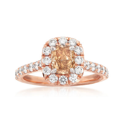 Henri Daussi 1.38 ct. t.w. Diamond Halo Engagement Ring in 18kt Rose Gold