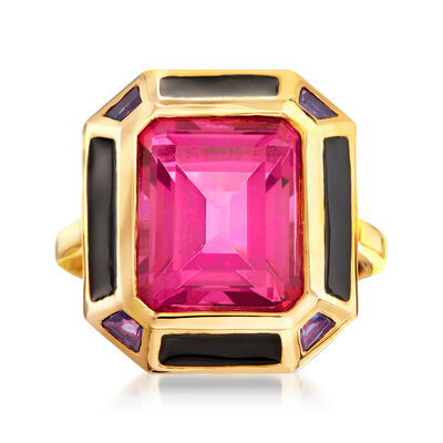 7.25 Carat Pink Topaz and .20 ct. t.w. Amethyst Ring with Black Enamel in 18kt Gold Over Sterling