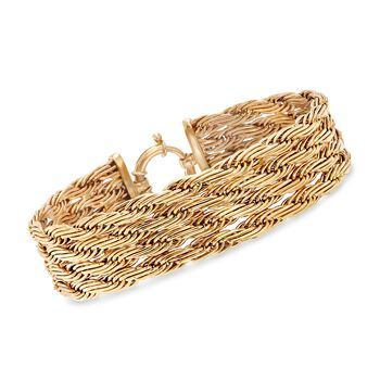 14kt Yellow Gold Multi-Row Rope Chain Bracelet, , default