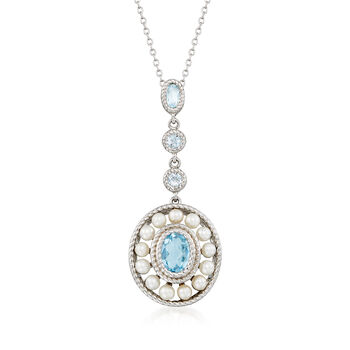 3mm Cultured Pearl and 2.00 ct. t.w. Blue Topaz Pendant Necklace in Sterling Silver, , default