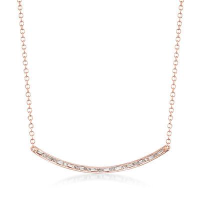 .18 Diamond Curved Bar Necklace in 14kt Rose Gold, , default