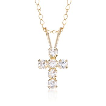 """Child's .25 ct. t.w. CZ Cross Necklace in 14kt Yellow Gold. 15"""", , default"""