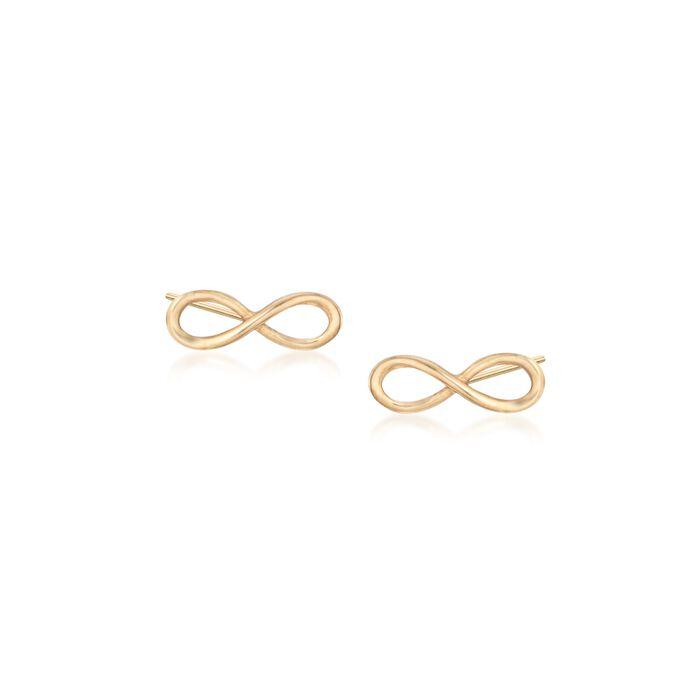 18kt Yellow Gold Infinity Symbol Stud Earrings, , default