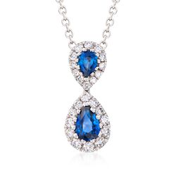 "Gregg Ruth .73 ct. t.w. Sapphire and .36 ct. t.w. Diamond Necklace in 18kt White Gold. 18"", , default"
