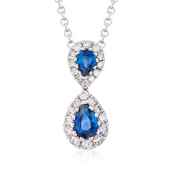 """Gregg Ruth .73 ct. t.w. Sapphire and .36 ct. t.w. Diamond Necklace in 18kt White Gold. 18"""", , default"""