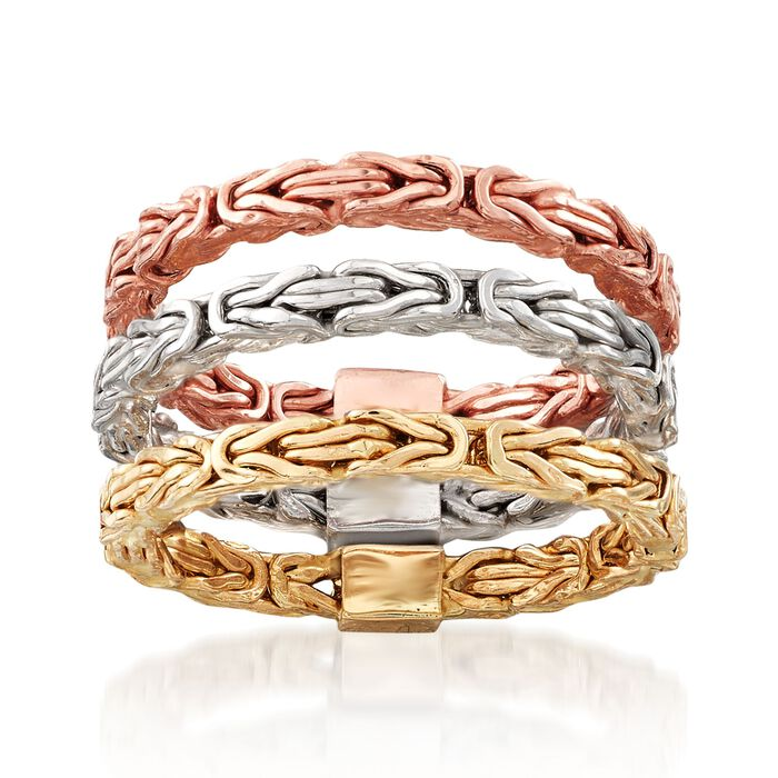14kt Tri-Colored Gold Jewelry Set: Three Byzantine Rings, , default