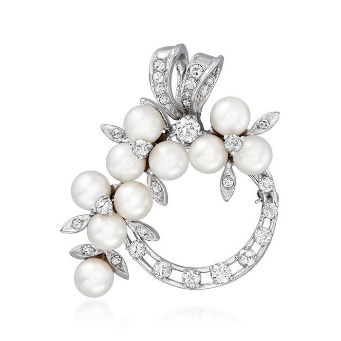 C. 1970 Vintage 5-5.5mm Cultured Pearl and 1.30 ct. t.w. Diamond Circle Pin in 14kt White Gold, , default
