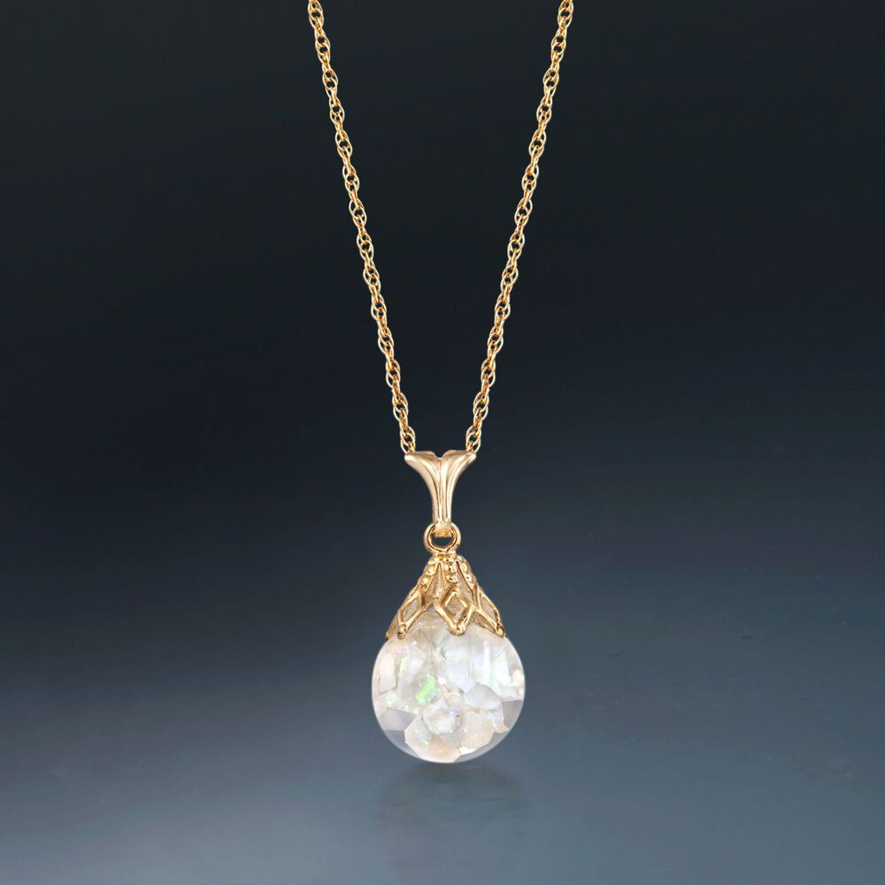 ... default Floating Opal Pendant Necklace in 14kt Yellow Gold, ...