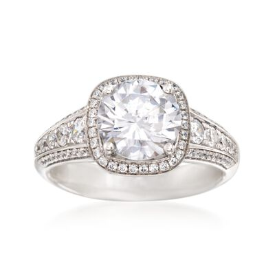 Simon G. .55 ct. t.w. Diamond Halo Engagement Ring Setting in 18kt White Gold