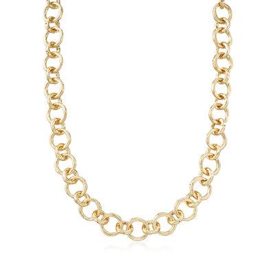 Italian 18kt Gold Over Sterling Rolo-Link Necklace, , default