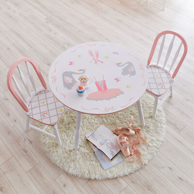 Child's Swan Lake Wooden 3-pc. Set: Table and 2 Chairs , , default