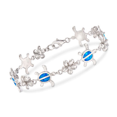 Blue Synthetic Opal Turtle and Flower Bracelet in Sterling Silver, , default