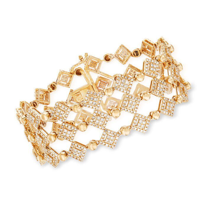 "5.00 ct. t.w. Diamond Three-Row Bracelet in 14kt Yellow Gold. 7"""