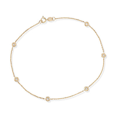 .17 ct. t.w. Bezel-Set Diamond Anklet in 14kt Yellow Gold, , default