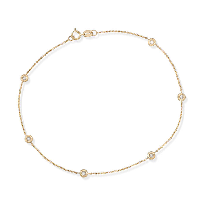 ".17 ct. t.w. Bezel-Set Diamond Anklet in 14kt Yellow Gold. 9.5"", , default"