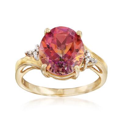 C. 1990 Vintage 6.30 Carat Pink Topaz Ring With Diamond Accents in 10kt Yellow Gold, , default