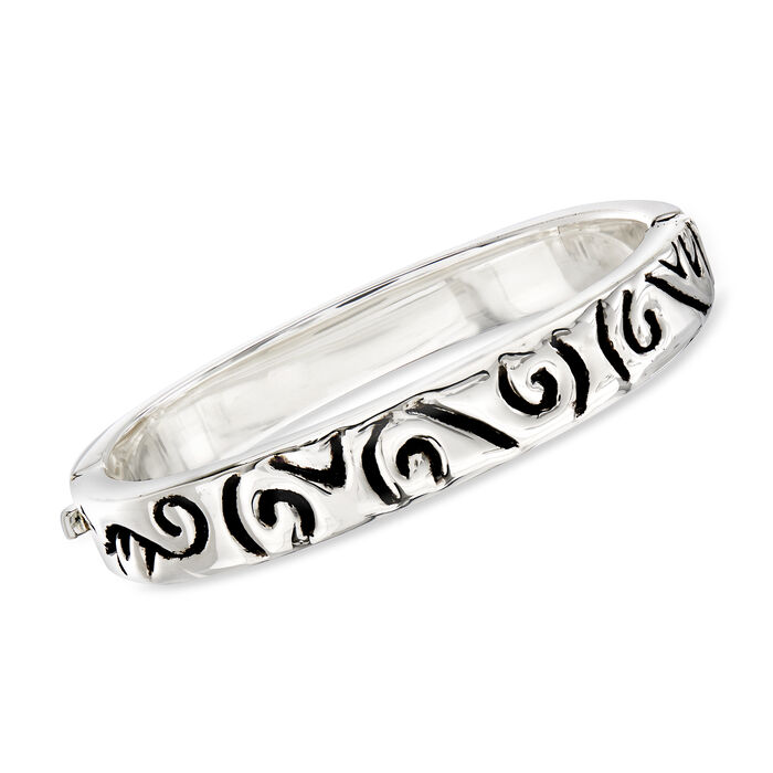 "Zina Sterling Silver Swirl Slip-On Bangle Bracelet. 7"", , default"