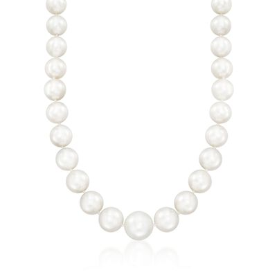 12-15.8mm Cultured South Sea Pearl Necklace with Diamonds and 14kt White Gold, , default