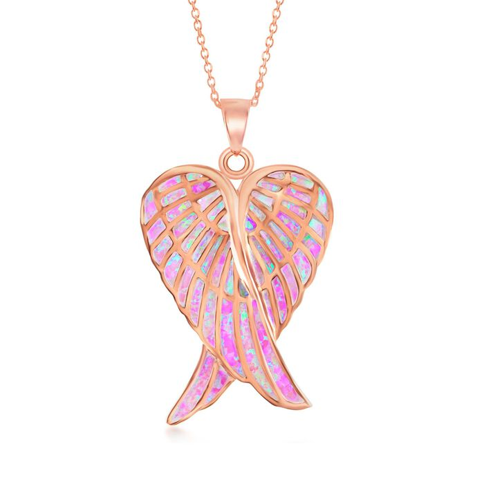 Pink Synthetic Opal Angel Wings Pendant Necklace in 18kt Rose Gold Over Sterling