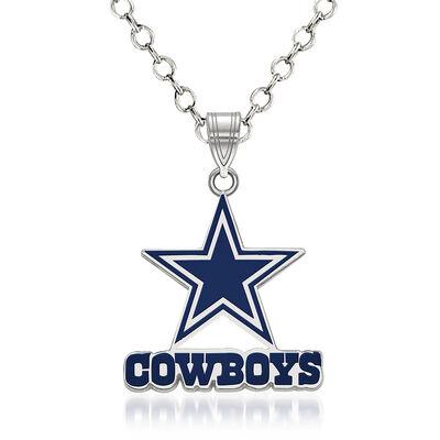 "Sterling Silver NFL Dallas Cowboys Enamel Pendant Necklace. 18"""