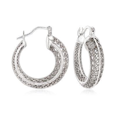 Sterling Silver Openwork Filigree Hoop Earrings