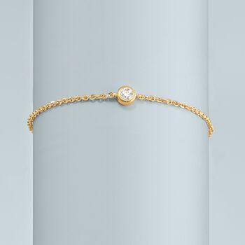 ".20 Carat Diamond Station Bracelet in 14kt Yellow Gold. 7.5"", , default"