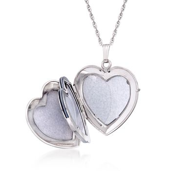 Sterling Silver Personalized Heart Locket Necklace. 18.5""