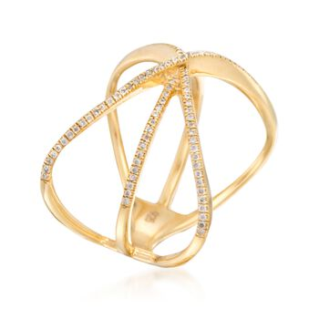 .18 ct. t.w. Diamond Crisscross Ring in 14kt Gold Over Sterling. Size 5, , default