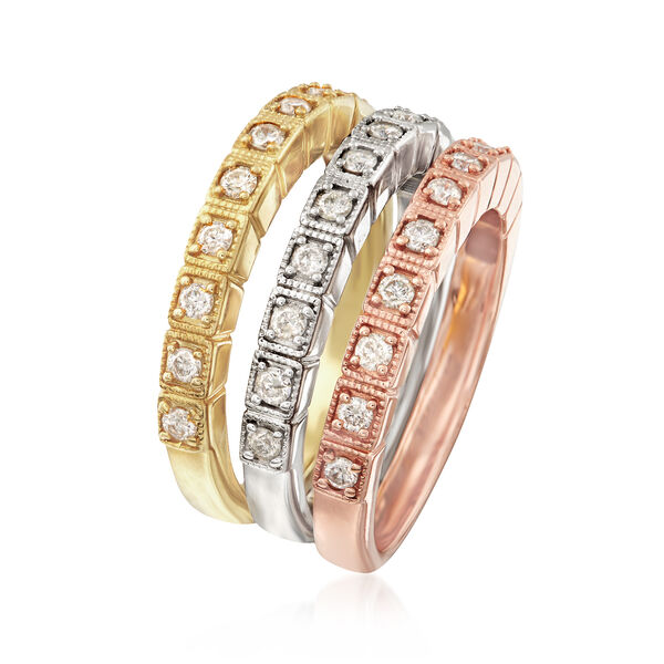 .75 ct. t.w. Diamond Jewelry Set: Three Polished Rings in Tri-Colored Sterling Silver #899914
