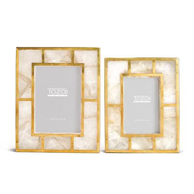 Set of 2 White Quartz Picture Frames with Brass Trim