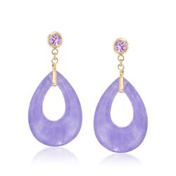 Lavender Jade and .50 ct. t.w. Amethyst Drop Earrings in 14kt Yellow Gold, , default