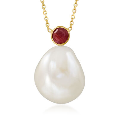 15x12mm Cultured Baroque Pearl and .30 Carat Ruby Necklace in 14kt Yellow Gold