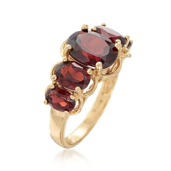 4.50 ct. t.w. Garnet Five-Stone Ring in 18kt Gold Over Sterling. Size 5, , default
