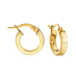 "Italian 18kt Yellow Gold Hoop Earrings. 1/2"", , default"