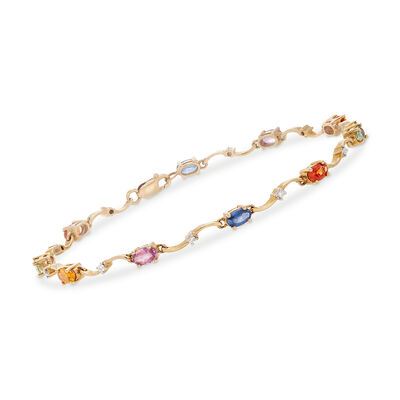 C. 1990 Vintage 2.50 ct. t.w. Multicolored Sapphire and .15 ct. t.w. Diamond Bracelet in 14kt Yellow Gold, , default
