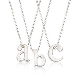 Sterling Silver Lowercase Initial Pendant Necklace, , default