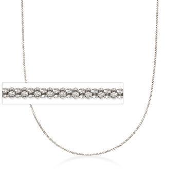 Italian 1.5mm Sterling Silver Adjustable Slider Popcorn Chain Necklace, , default
