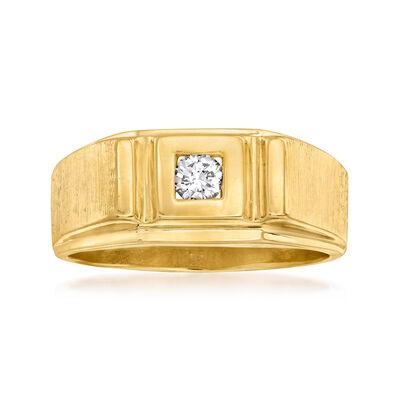 C. 1990 Vintage Men's .12 Carat Diamond Ring in 14kt Yellow Gold