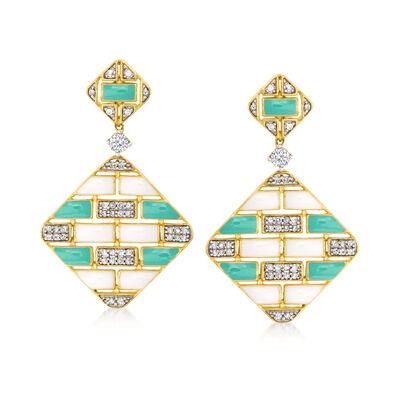 .50 ct. t.w. Diamond and Enamel Diamond-Shaped Geometric Drop Earrings in 18kt Gold Over Sterling
