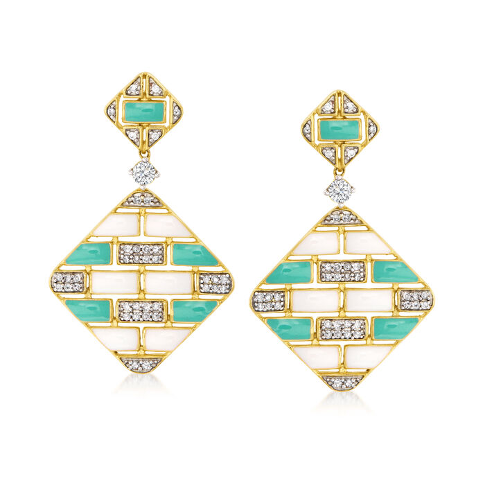 .50 ct. t.w. Diamond and Enamel Diamond-Shaped Geometric Drop Earrings in 18kt Gold Over Sterling
