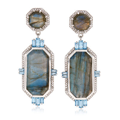 Labradorite and 3.20 ct. t.w. Topaz Drop Earrings in Sterling Silver, , default