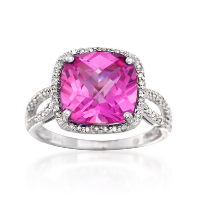 4.90 Carat Pink Topaz and .19 ct. t.w. Diamond Ring in 14kt White Gold, , default