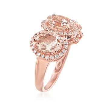 4.60 ct. t.w. Morganite and .41 ct. t.w. Diamond Ring in 14kt Rose Gold, , default