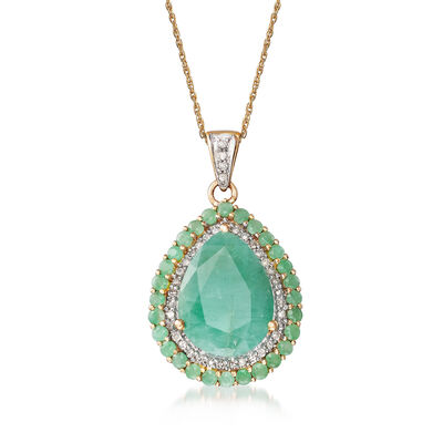 8.70 ct. t.w. Emerald and .34 ct. t.w. Diamond Pendant Necklace in 14kt Yellow Gold, , default