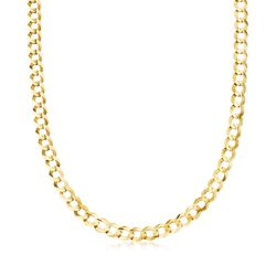 Men's 8.2mm 14kt Yellow Gold Faceted Curb-Link Chain Necklace, , default