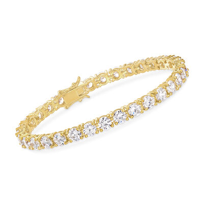 15.00 ct. t.w. CZ Tennis Bracelet in 14kt Gold Over Sterling, , default