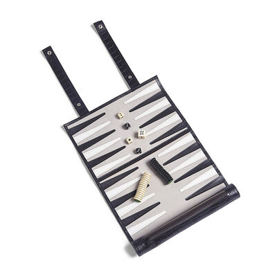 "Brouk & Co. ""Roll-Up"" Black Crocodile Faux Leather Backgammon Set , , default"