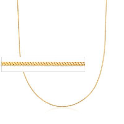Italian 1mm 24kt Gold Over Sterling Adjustable Slider Snake Chain Necklace, , default